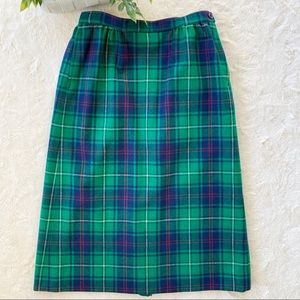 Vintage Pendleton green tartan plaid wool skirt 8